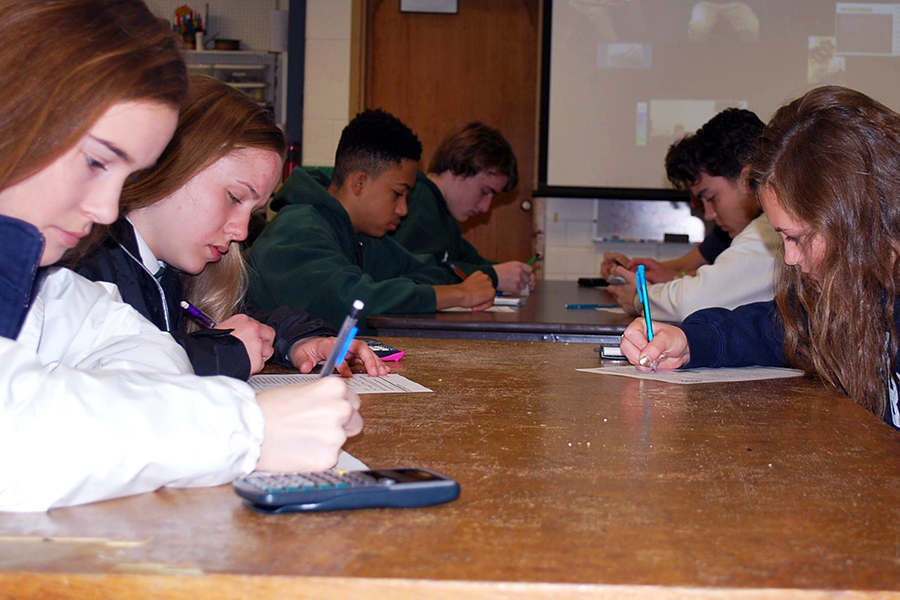 Math League, shown in action last spring, will meet on Nov. 13 before school.