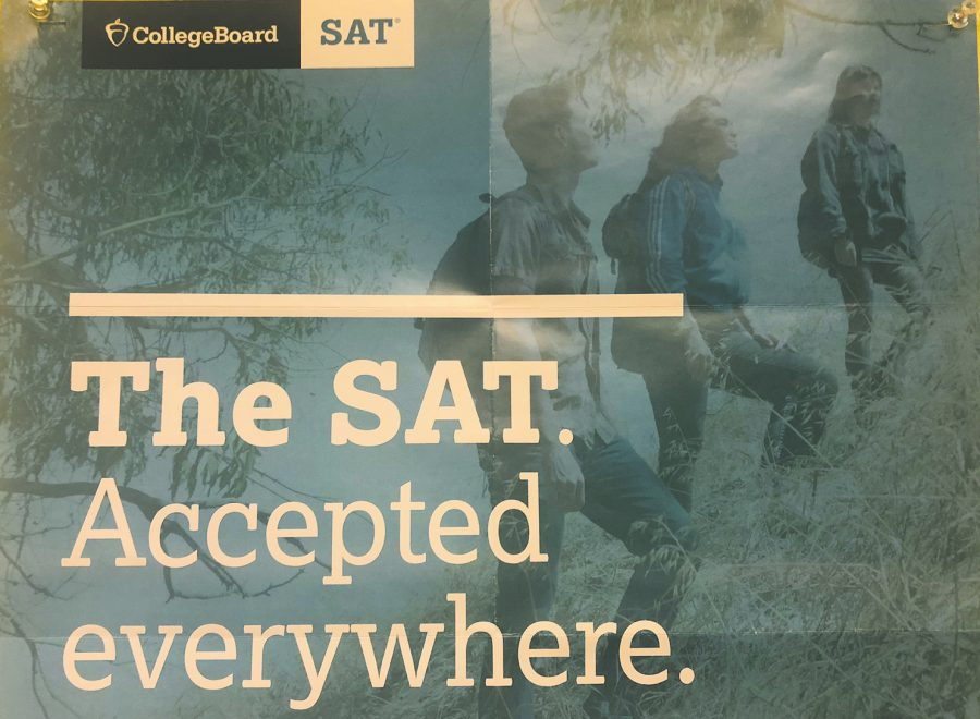 Posters in the counselors' office advertise the SAT.