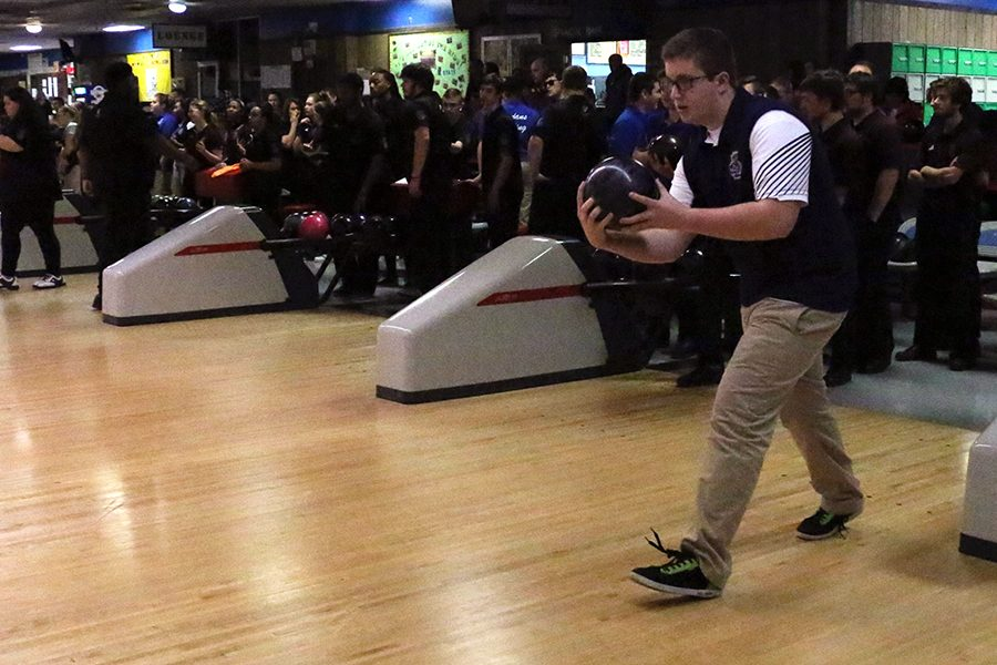 The bowling team, shown n in action last year, takes on Cardinal Ritter on Nov. 7.