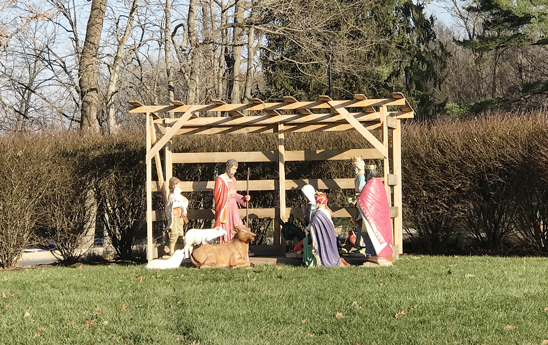 """The manger sits at the roundabout almost every year. Vice Principal Mr. Jere Kubuske said, """"The manger we had our maintenance guys set up."""""""