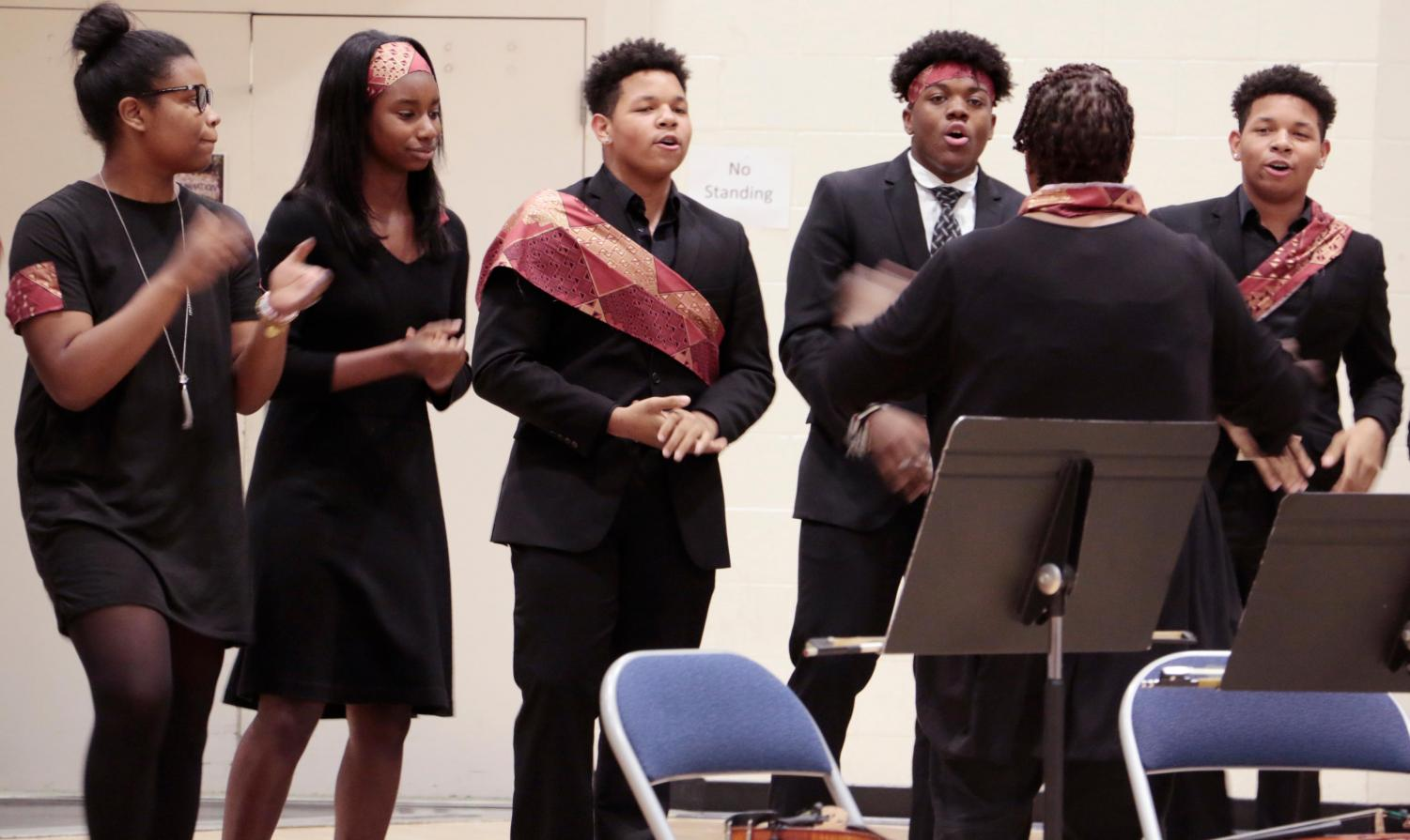 The gospel choir performed at the Black History Month assembly.