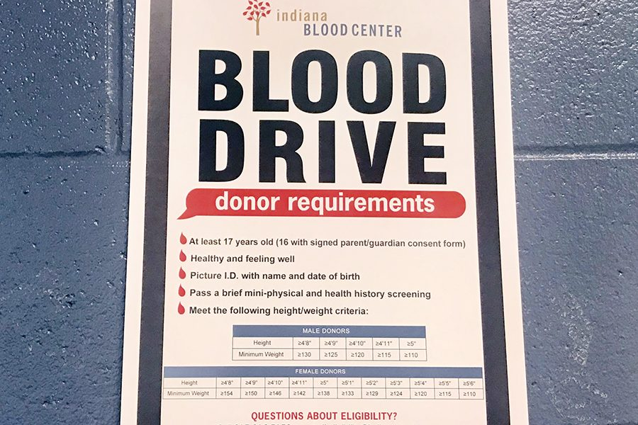 A poster outside the library provides information about the Feb. 7 blood drive.