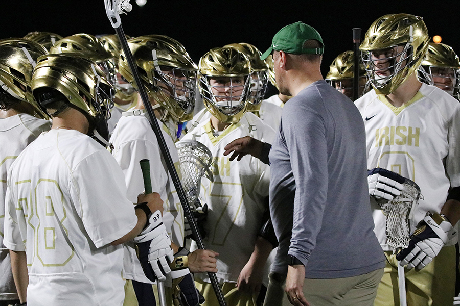 The men's lacrosse team, in action last season, hosts South Bend St. Joseph on March 16.