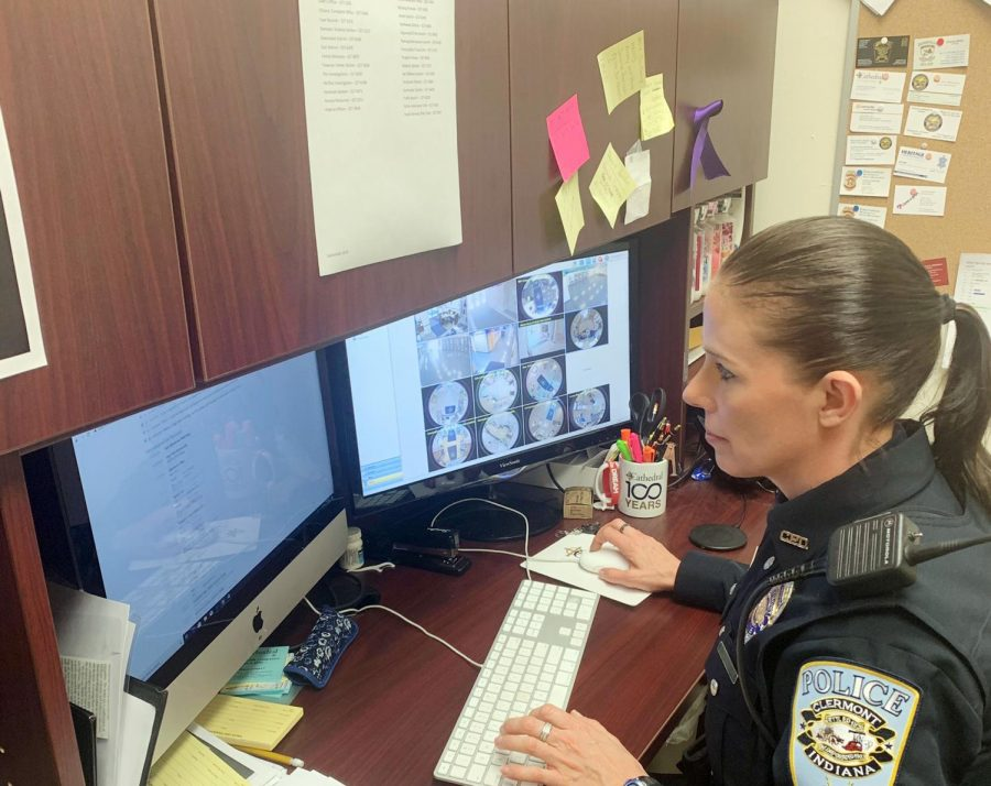 Student Resource Officer Ms. Tabetha Emenaker works in her office.
