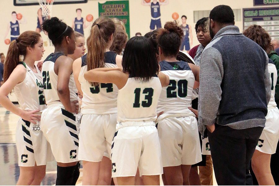 The+women%27s+varsity+basketball+team+gathers+during+a+timeout+last+season.
