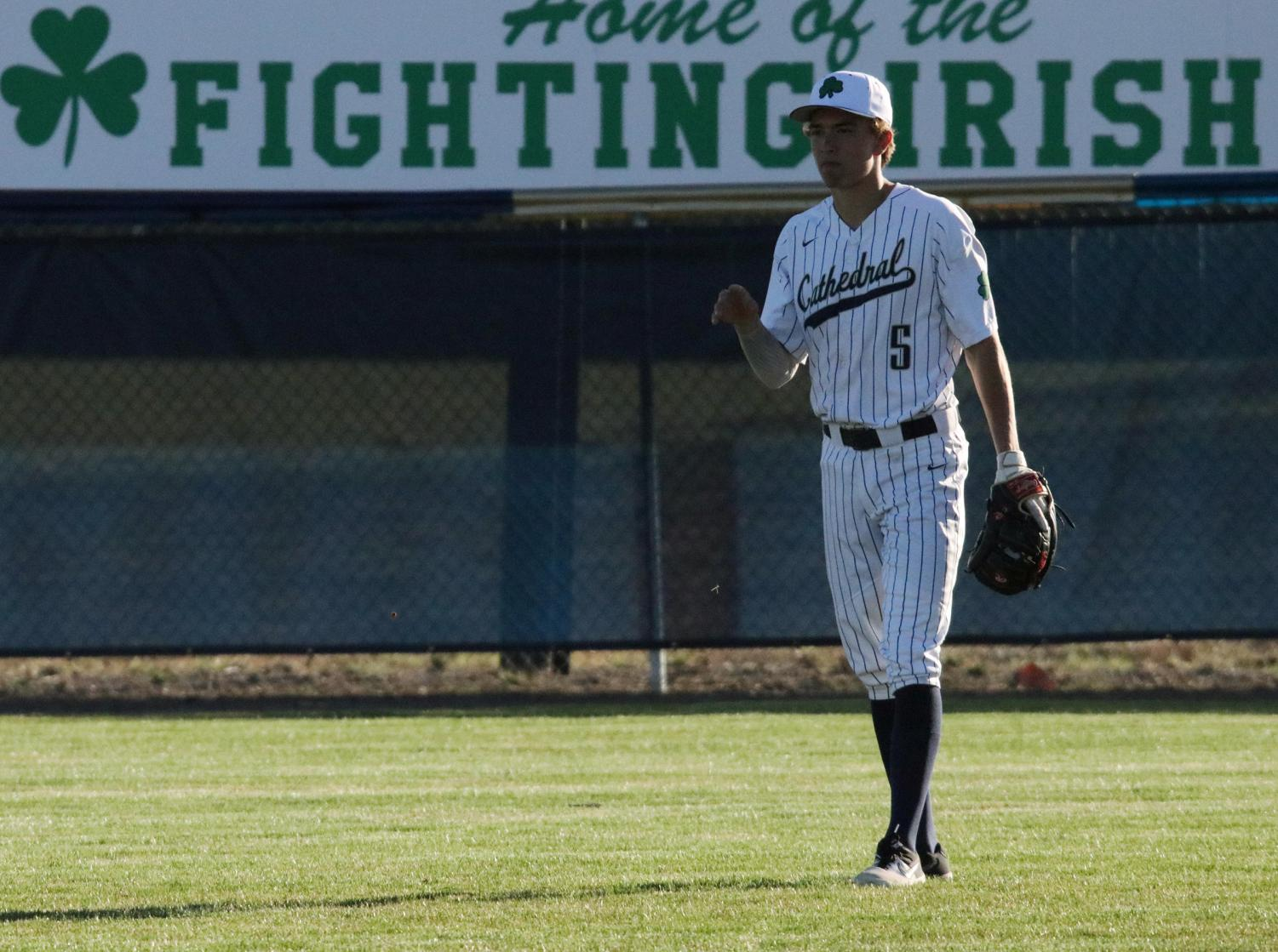Senior Bo Sanders takes his place in the field during a recent varsity game at Brunette Park.