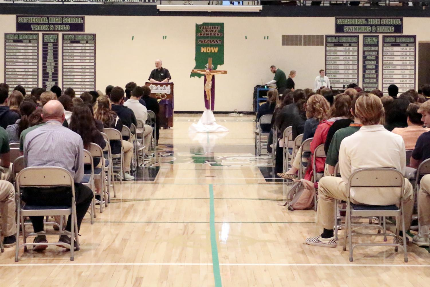 During flex on April 15, students and educators participated in the Stations of the Cross in the Welch Activity Center.