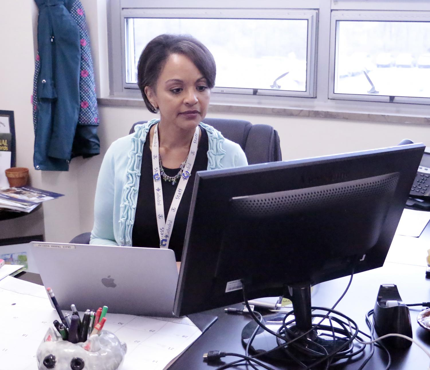Mrs. Grace Rodecap works in her office.