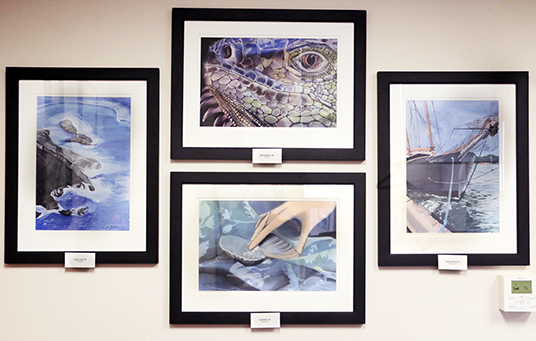 Principal Mr. Dave Worland uses his office wall to showcase some of the school's most outstanding artistic talent.