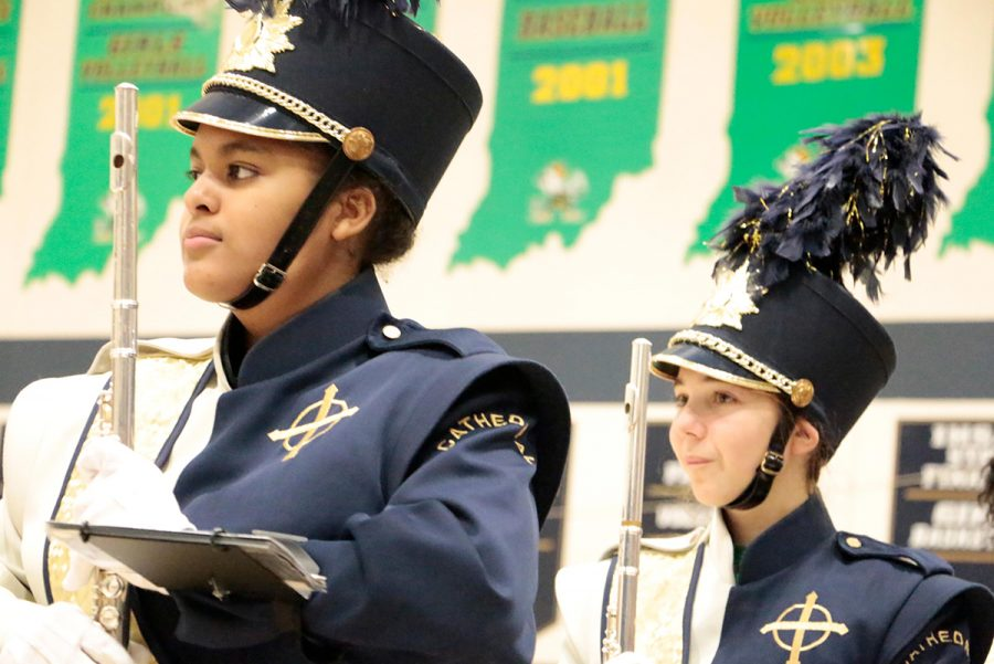 The marching band performs in the gym last fall during open house. The Pride of the Irish will return to the WAC on May 10 for the annual spring band gala.