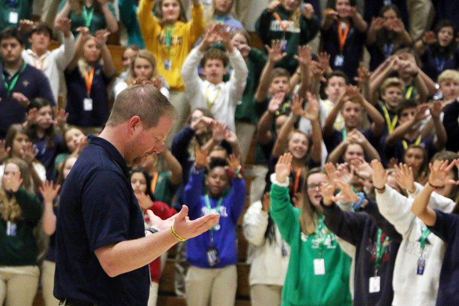 At the conclusion of Mass on Aug. 15 in the Welch Activity Center, Vice Principal Mr. Jere Kubuske receives the traditional Irish blessing from the students, faculty and staff. Kubukse has accepted a teaching position in Green Bay, Wisconsin.