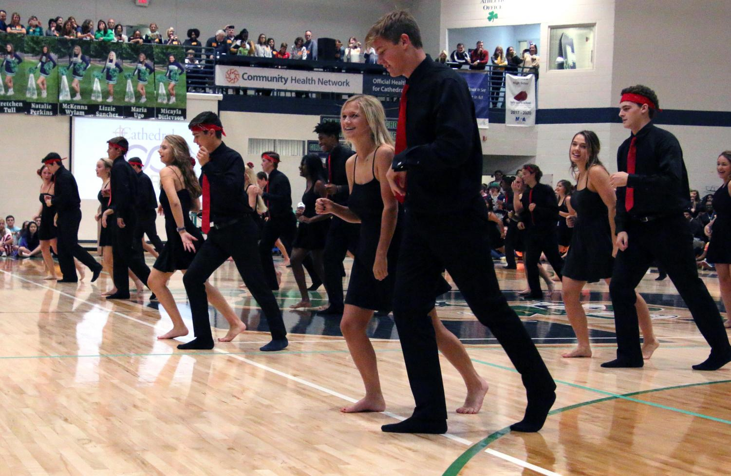 Members of the Latin Dance team perform at last year's Irish 500 assembly.
