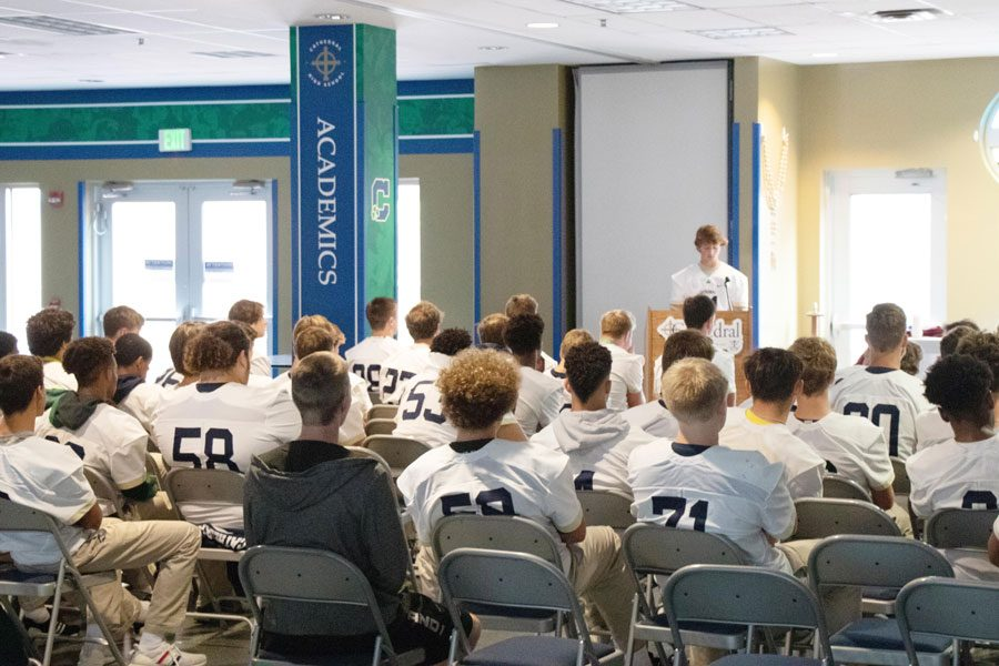 One of the many game-day traditions of the Irish football team involves celebrating Mass in the Shiel Student Life Center.