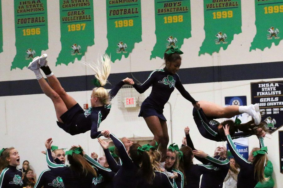 The cheerleaders took center court at last year's Homecoming pep rally.