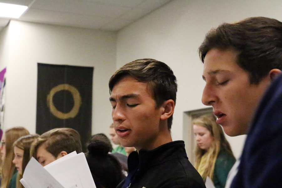 Senior Nick Grill, at left  in choir class last year, earned a perfect score on the ACT.