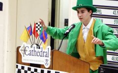 Senior Max Beatty addresses the student body at last spring's Irish 500 after he had been announced as this year's leprechaun.