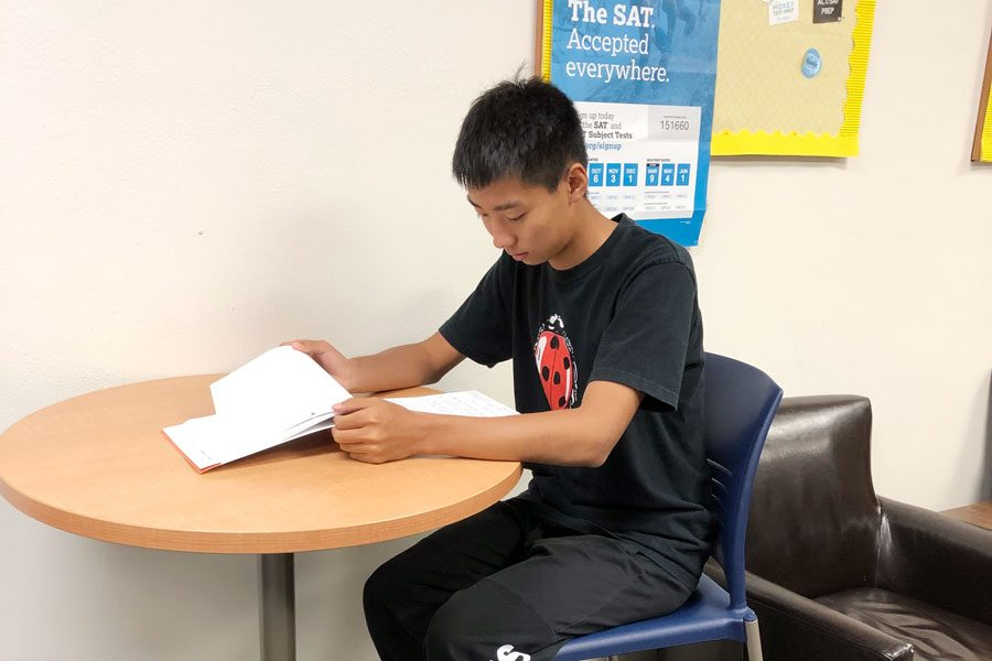 Junior Bill Zhang studies in the counseling center after school on Sept. 24.