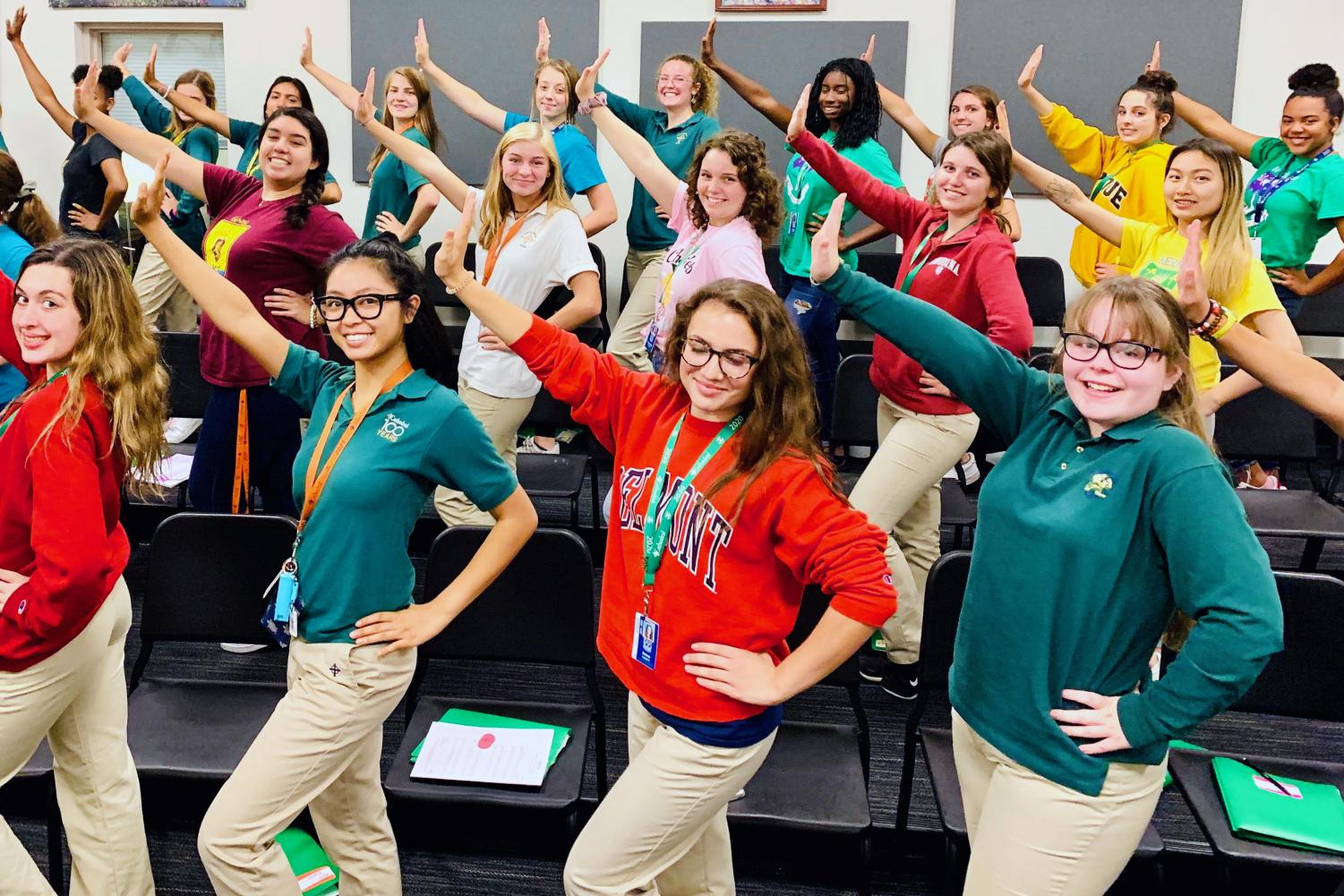 Members of the show choir, the Irish Adrenaline, practice during A period in Cunningham.