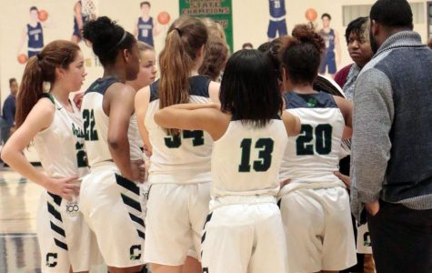 Tryouts for this season's women's basketball teams will be Oct. 21 and Oct. 22. During a regular season game last year, varsity players receive instruction during a timeout.