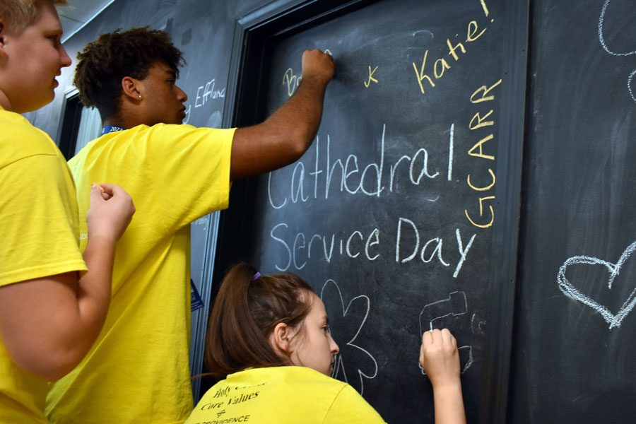 Giving back to the community is one of this school's core values. Students participated in the Day of Service on Sept. 13.