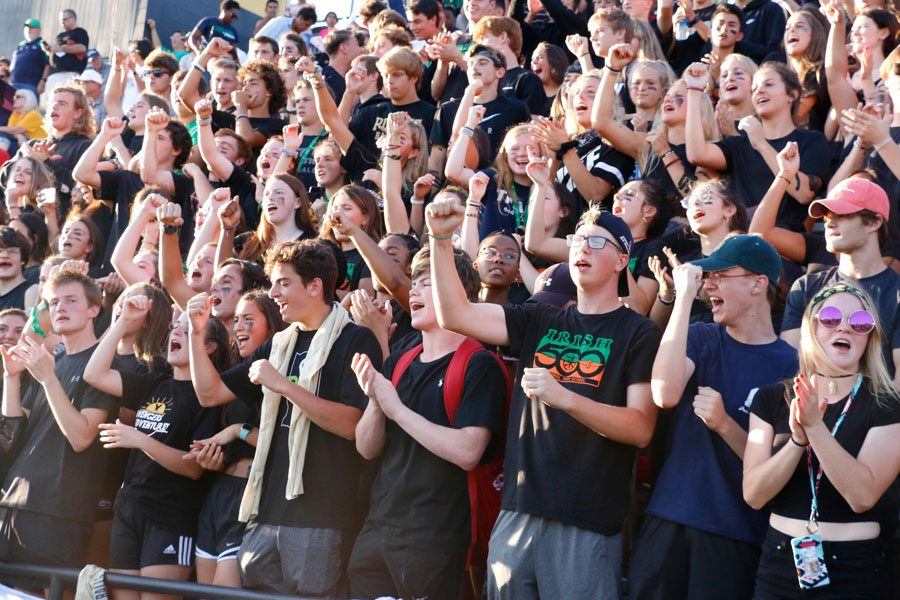 The+student+section+shows+its+spirit+at+a+regular+season+game.+The+students+will+be+out+in+force+during+the+Sectional+game+at+Tech+on+Nov.+1.+