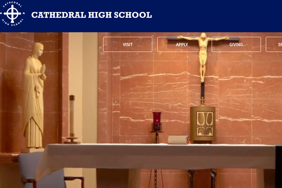 The chapel is just one of the images displayed on the school's home page.