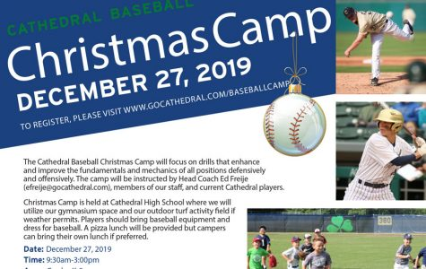 Promotional material for the annual Christmas baseball camp.