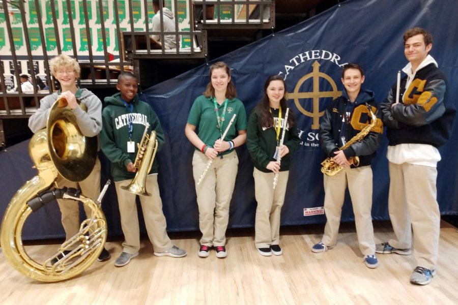 Six members of the Pride of the Irish have been selected to participate as part of the Ball State Honors Band. They are, from left, Micah Wasmuth, Joseph Jideonwo, Claudia Darnell, Amelia DeSanto, Gabe Tice and Andrew Marcou.