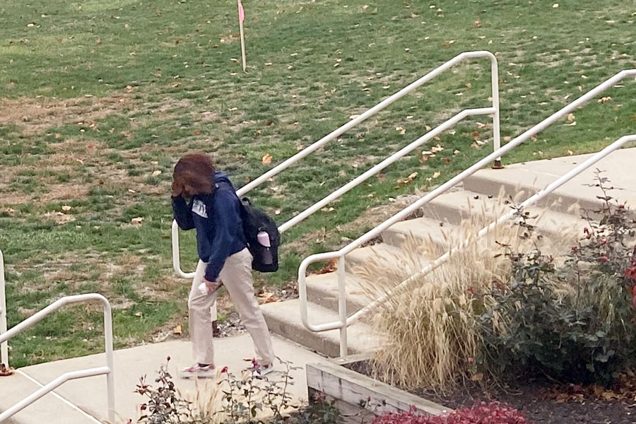 The temperature dropped to 10 degrees on the morning of Nov. 12, causing students to pick up the pace on the walk between Loretto and the Shiel Student Life Center.