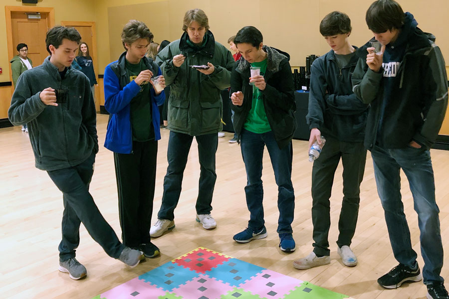 Students who participated in the Franklin College Math Day on Nov. 23 ponder a puzzle.