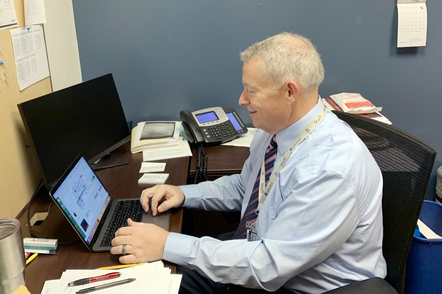 Director of counseling Mr. Duane Emery works in his office in Kelly Hall.