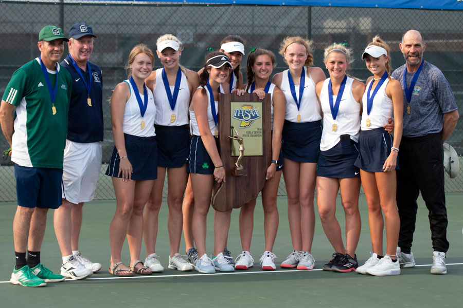 The women's tennis team won the State championship in 2019.