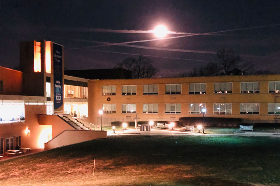 A+full+moon+illuminated+the+courtyard+on+the+morning+of+Dec.+12.+