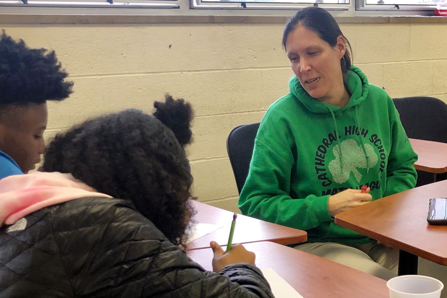 Math teacher Mrs. Rachel Ludington offered advice to freshmen for making a successful transition to second semester.