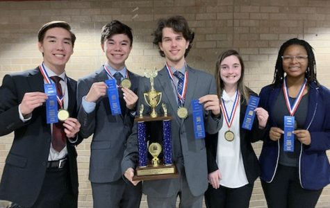 Members of the State champion world school debate category are, from left, Nathan Fiedeldey. Andrew de las Alas, Henry Eifert, Ashelyn Lucas and Miyanah Perry.