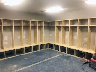 Work continues on the basketball locker rooms at Brunette Park.
