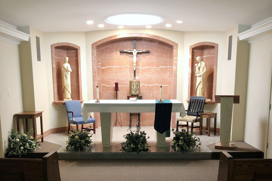 The daily Mass or prayer service now will take place each morning at 7:30.