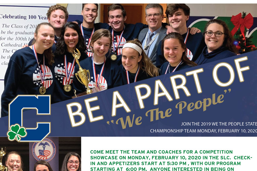 The State champion We the People team will host a showcase on Feb. 10 in the Shiel Student Life Center.
