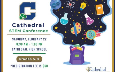 Promotional material provides information about the Feb. 22 STEM conference.