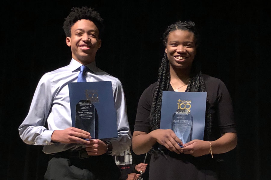 Seniors Sean Ledford and Danielle Levingston were recognized at the Black Alumni Council program.