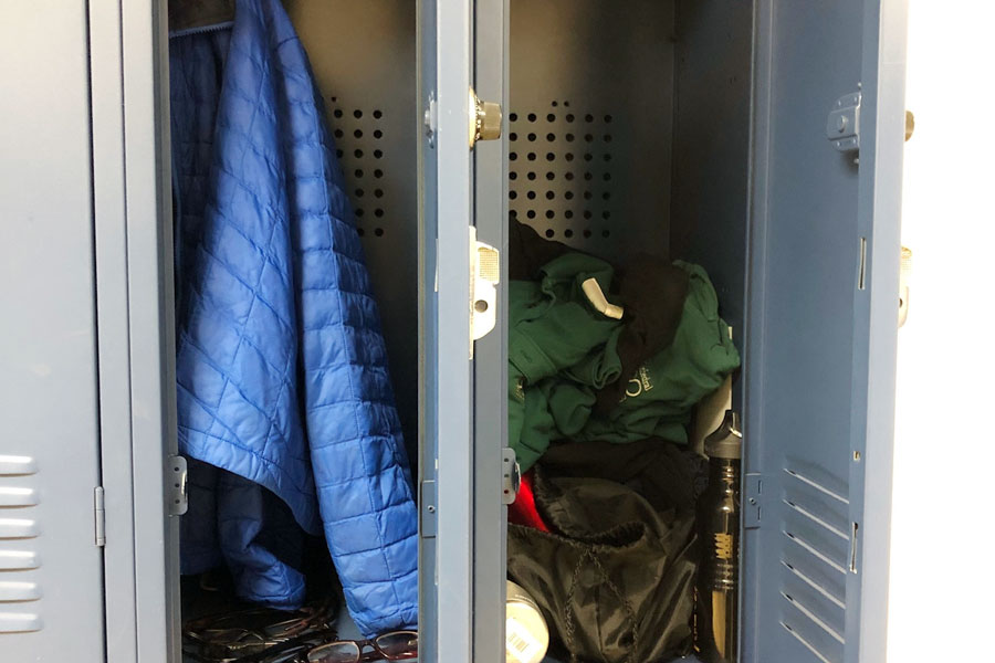 Items turned in to lost and found fill two lockers outside the Student Services Suite.