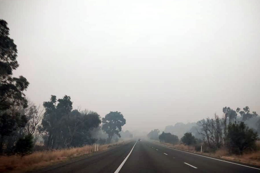 Smoke+and+haze+cover+a+road+in+Australia+during+the+recent+fires.+The+son+of+theology+teacher+Mrs.+Rebecca+Heger+provided+the+photo.+