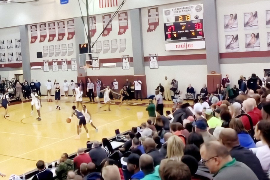 The bleachers were full at Lawrence Central for the men's basketball Sectional on March 4.
