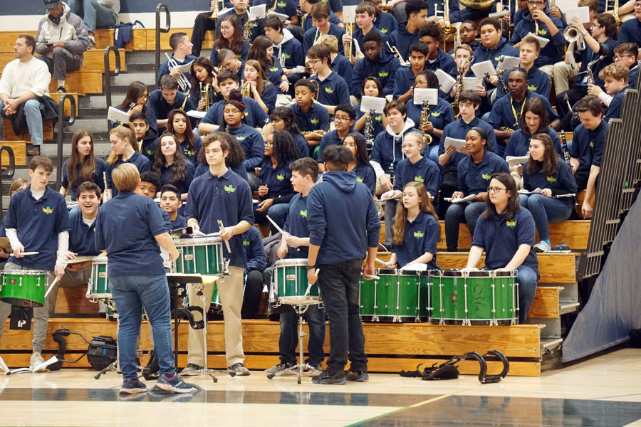 The marching band, which performed at a basketball game earlier this school year, will participate in the St. Patrick's Day parade on March 13.
