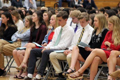 Students participated in the National Honor Society induction in the Welch Activity Center two years ago.