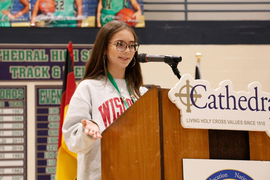 Carolina Rios spoke at the multicultural assembly earlier in the school year.