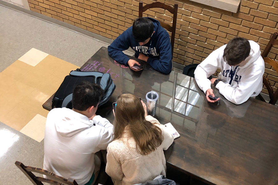 Students study in Loretto Hall before school on March 11.