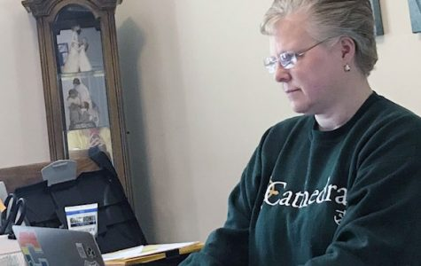 Counselor Ms. Kathy Pivonka works from home on April 6.