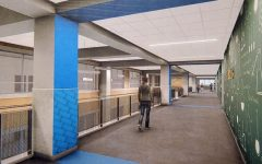 A rendering shows the second floor hallway of the Innovation Center.
