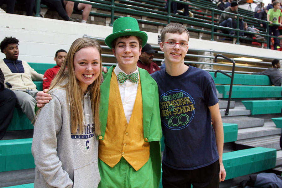 Senior Max Beatty, in his role as the leprechaun, attended the women's basketball Sectional.